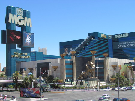 Las Vegas Nevada USA, 21 July 2011: view on MGM Grand Casino Hotel with the famous lion statue on LV strip