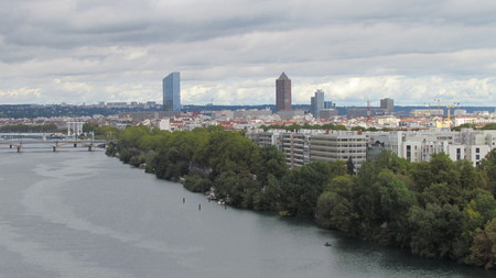 View on Rhone river and La Part-Dieu central business district skyline Stock Photo