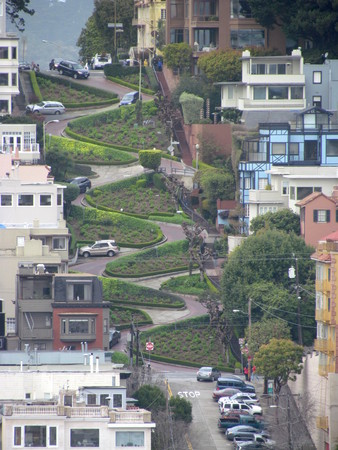 Aerial view of Lombard street in San Francisco California USA Imagens