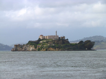 View on Alcatraz prison island in San Fancisco Bay California USA Stock Photo