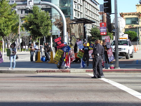 Los Angeles USA, 13 February  2011: People protesting againts gay people in army at Grammys award