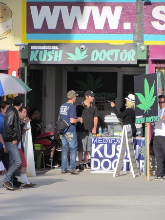 Los Angeles California USA, 12 February 2011: People in front of Marijuana Doctor on Venice Beach
