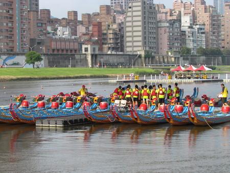 Taipei Taiwan, 20 June 2015: Team of Dragon boat festival race on tamsui river in Taipei