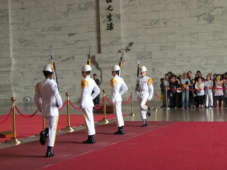 Taipei Taiwan, 20 June 2015: Changing honor guard of the Republic of China armed forces in National Chiang Kai-shek main Memorial Hall