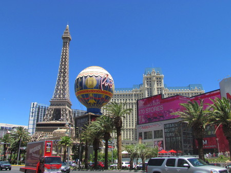nevada: Las Vegas Nevada USA, 21 July 2011: view on Paris Hotel and casino sign and eiffel tower on LV strip Editorial