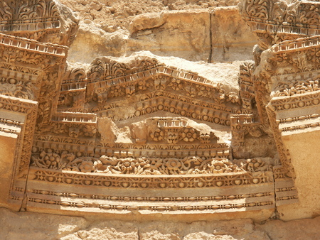 Enriched mouldings on temple of Artemis in the Ruins of the old city of Jerash in Jordan