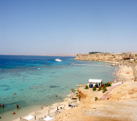 strip club: Aerial view of touristic beach red sea seaside in Sharm el-Sheikh in Sinai Egypt