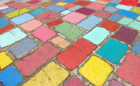 tiling: Multicolored colorful old pavement of different size which can be used as background