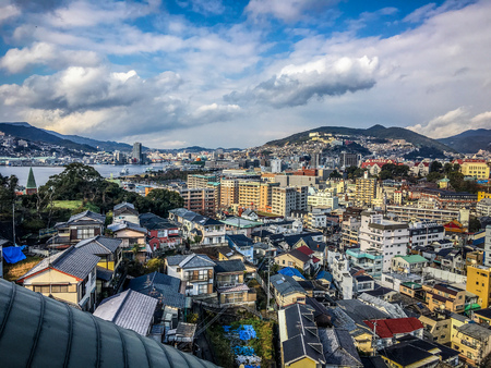 Aerial city landscape view of modern Nagasaki on Kyushu island Japan Stock Photo