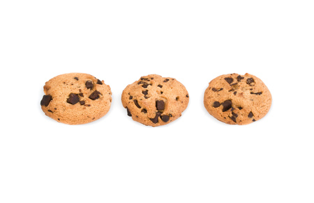 Three Homemade Double Chocolate chip cookies isolated on white background Stock Photo