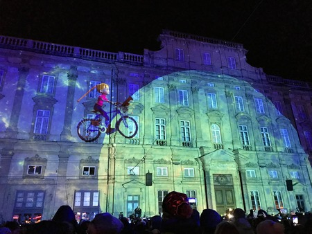Lyon France, 8 December 2017: Place des Terreaux view during Fete des Lumieres - Festival of Lights in Lyon Editorial