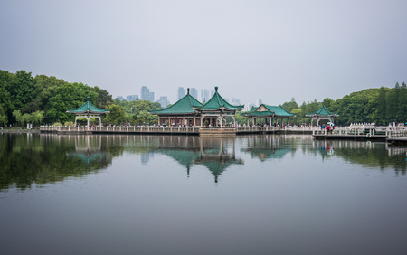 Pavilion in middle of liyuan park East lake in Wuhan Hubei China