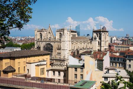 View of Cathedral Saint-Jean-Baptiste de Lyon a Roman Catholic church located on Saint-Jean square in Lyon France