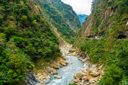 View of Taroko gorge during Yanzihkou hiking trail in Taroko national park in Hualien Taiwan