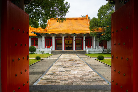 Front view of New Taipei city Martyrs shrine in Tamsui Taipei Taiwan