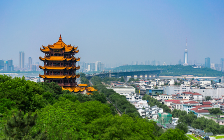Yellow crane tower and Wuhan Yangtze Great Bridge scenic view in Wuhan Hubei China