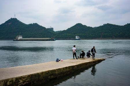 27 April 2018, Yichang Hubei China: Chinese people fishing in Yangtze river in Yichang Hubei China