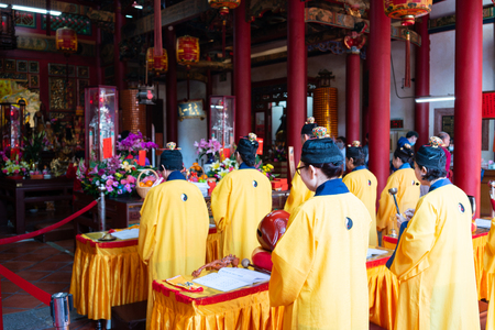 16 February 2018, Changhua Taiwan : Taoist monk people praying in Kaihua temple in Changhua Taiwan