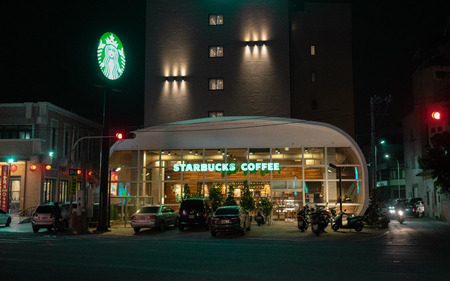 17 February 2018, Lukang Taiwan : Exterior view of a Starbucks coffee at night in Lugang Taiwan Editorial