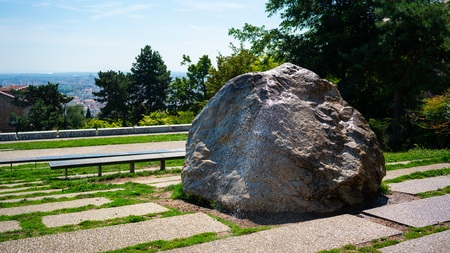 Gros Caillou Big Pebble landmark in La Croix-Rousse neighborhood in Lyon France Stock Photo