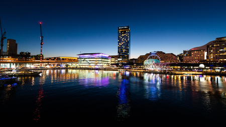 23rd December 2018, Sydney Australia: Night scenic panoramic view of Darling Harbour in Sydney Australia
