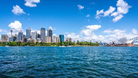 23rd December 2018, Sydney Australia: Sydney skyline and Sydney Opera house cityscape panorama in NSW Australia