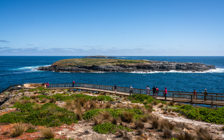 Panoramic view of Cape du Couedic with Casuarina Islets and boardwalk to admirable arch on Kangaroo island in SA Australia