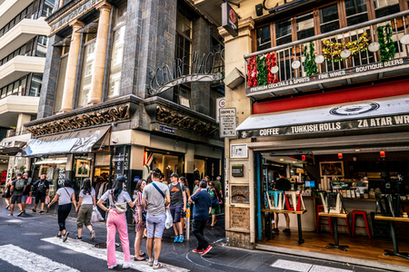 3rd January 2019, Melbourne Australia: street view of the entrance of Centre Place an iconic pedestrian laneway with people in Melbourne Australia