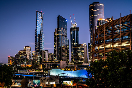 3rd January 2019, Melbourne Australia: Melbourne skyline at dusk with riverside quay buildings including the Eureka tower in Melbourne Australia