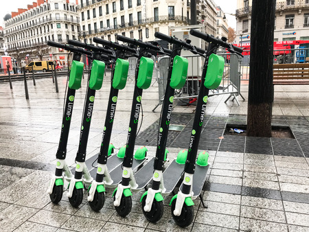 Lyon France, 2 December 2018 : Lime-S electric scooter of the company Lime in the street in Lyon France