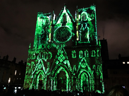 Lyon France, 7 December 2018 : Lyon Cathedral view during Fete des Lumieres - Festival of Lights in Lyon 報道画像