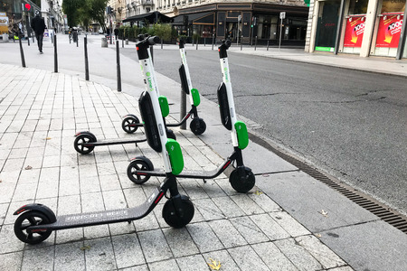 Lyon France, 28 October 2018 : Lime-S electric scooter of the company Lime in the street in Lyon France