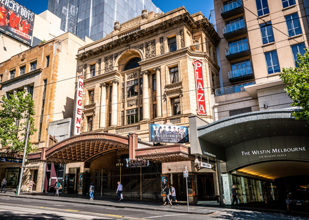 3rd January 2019, Melbourne Australia : Regent theatre building view and current play ad for the Illusionists direct from Broadway tour in Melbourne Australia 報道画像