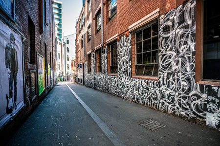 3rd January 2019, Melbourne Australia : View of Duckboard Place laneway in Melbourne Australia 報道画像