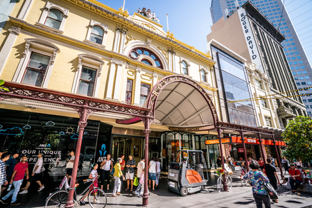 3rd January 2019, Melbourne Australia : Royal Arcade building entrance and facade view on Bourke Street in Melbourne Australia