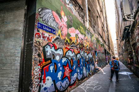 3rd January 2019, Melbourne Australia : Union lane nameplate and people in Melbourne Australia