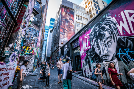 3rd January 2019, Melbourne Australia : wide angle view of Hosier lane full of tourists in Melbourne Australia