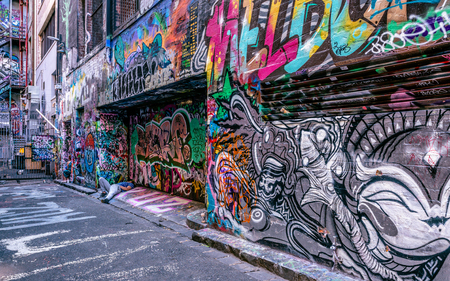 3rd January 2019, Melbourne Australia : Hosier lane view with man sleeping on the ground in Melbourne Australia