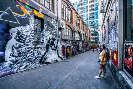 3rd January 2019, Melbourne Australia : ACDC lane street view with people in Melbourne Australia