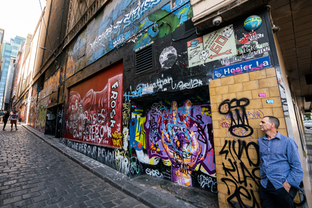 3rd January 2019, Melbourne Australia : Hosier lane street view with nameplate and tourists in Melbourne Australia
