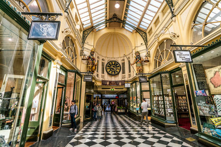 3rd January 2019, Melbourne Australia : Interior view of Royal Arcade with people and Gaunt clock in Melbourne Australia