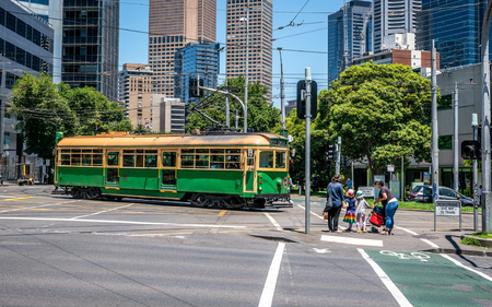 3rd January 2019, Melbourne Australia : Street view of a City circle W-class tram a free tram running around the Melbourne City Centre in Victoria Australia