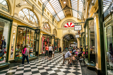 3rd January 2019, Melbourne Australia : Interior view of Royal Arcade with people in Melbourne Australia