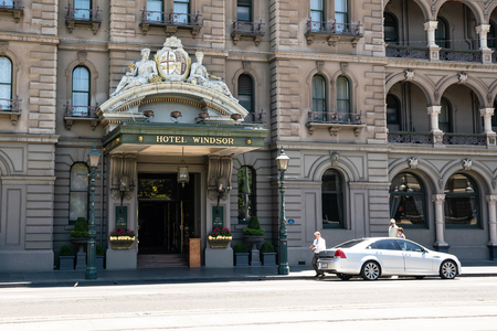 3rd January 2019, Melbourne Australia : Close-up view of the entrance of the Windsor hotel a luxury Victorian era hotel in Melbourne Victoria Australia