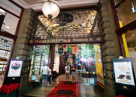 3rd January 2019, Melbourne Australia : Entrance of the Block Arcade on Collins street in Melbourne Australia 報道画像