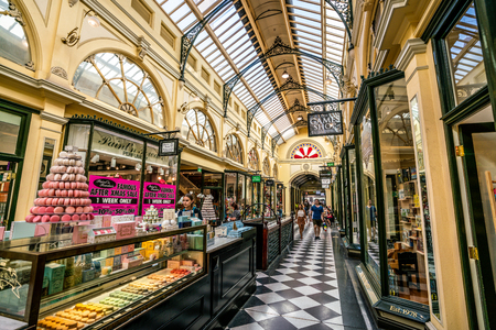 3rd January 2019, Melbourne Australia : Interior view of Royal Arcade with Macaron shop in Melbourne Australia