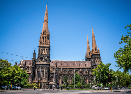 3rd January 2019, Melbourne Australia : street view of St Patricks Cathedral a Roman Catholic Cathedral church in Melbourne Victoria Australia 報道画像