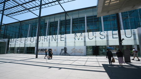 3rd January 2019, Melbourne Australia : main entrance of Melbourne museum a natural and cultural history museum with people going inside in Melbourne Victoria Australia
