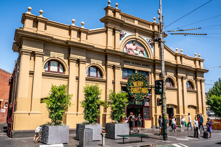 3rd January 2019, Melbourne Victoria Australia : Exterior street view of the main entrance of Queen Victoria market in Melbourne Victoria Australia 報道画像