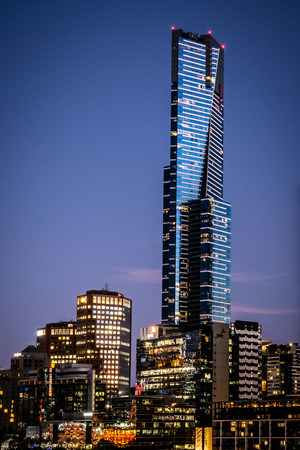 2nd January 2019, Melbourne Australia : Vertical view of the Eureka tower building at night a residential skyscraper in Melbourne Australia 報道画像